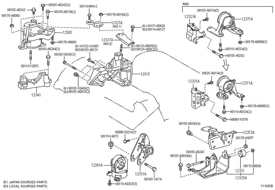 Toyota RAV 4 Bracket, engine mounting, front no.1 left ...