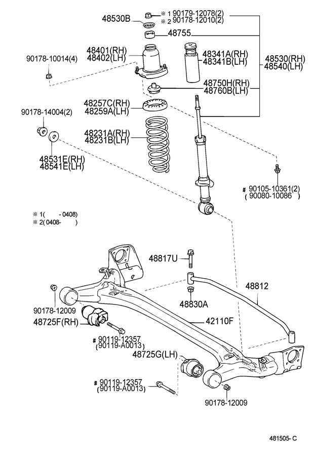 2004 Toyota Corolla Beam Assembly  Rear Axle  Beam  Axle