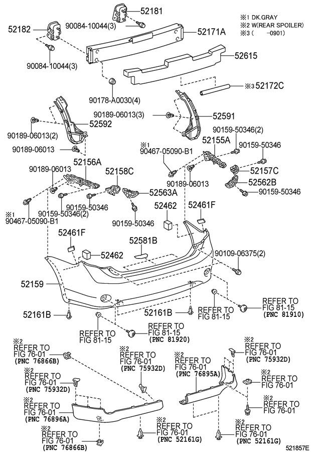 2011 toyota camry le bumper diagram