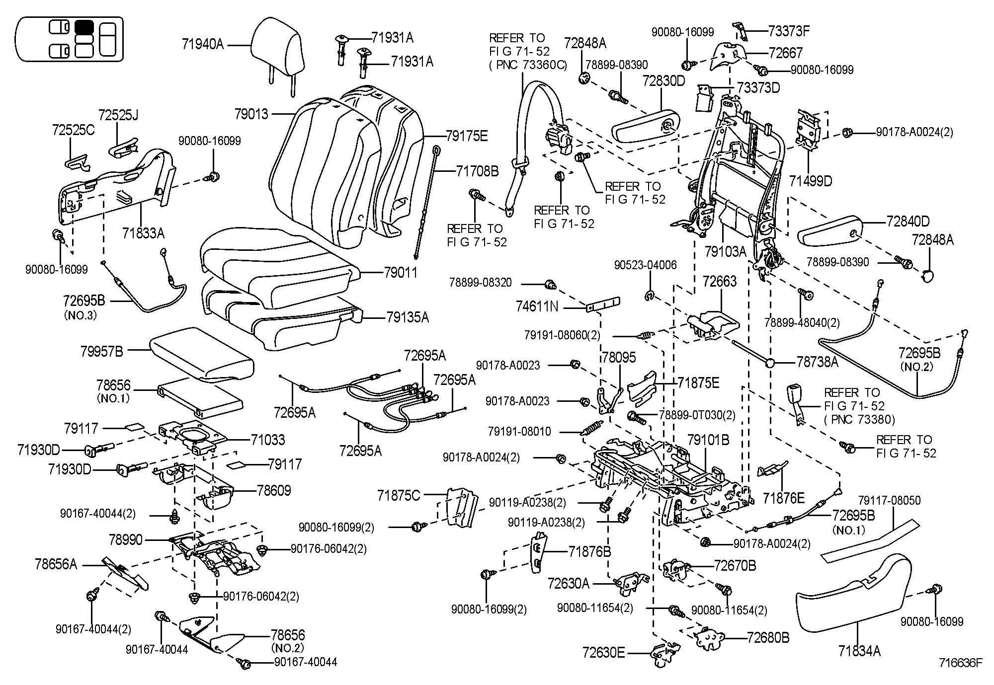 2011 Toyota Sienna Bezel  Rear Seat Back Lock  Upper  Lt