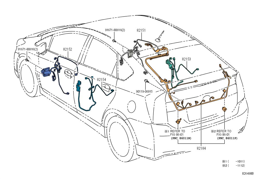 2010 Toyota Prius Wire, rear door, no.2. Wiring. Wiring ...