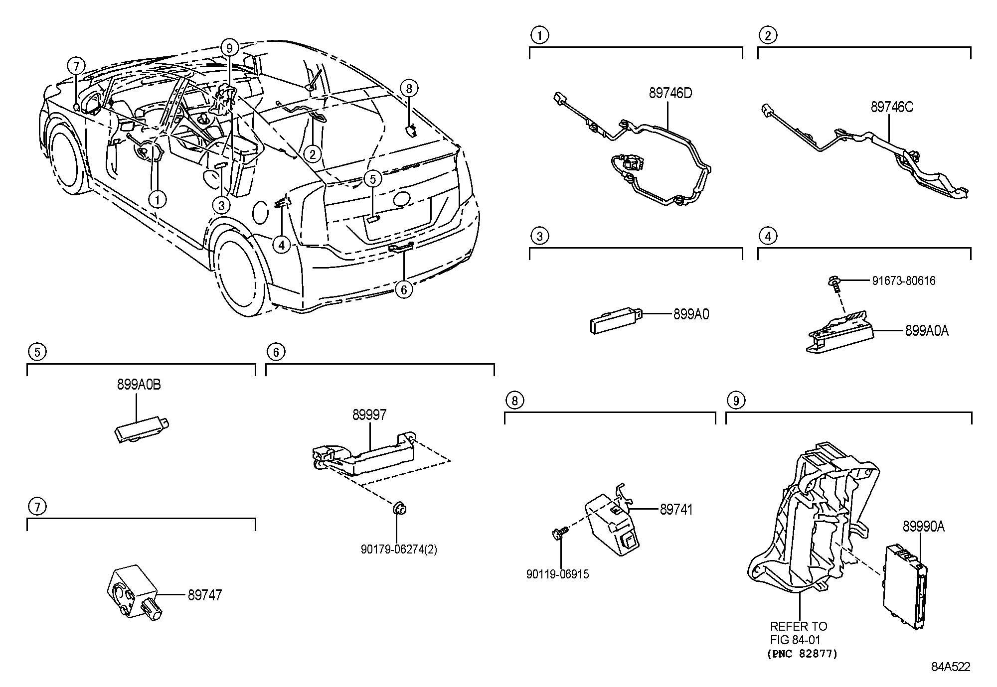 897470r020 Toyota Buzzer Power Back Door Warning