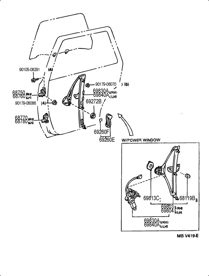 1994 Toyota Camry Regulator sub-assembly, rear door window ...