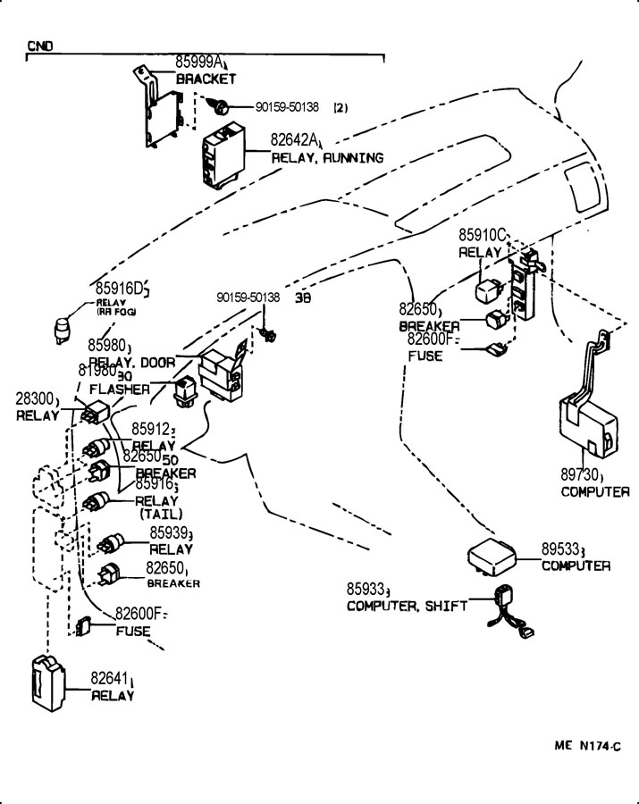 Toyota Corolla Breaker Assembly  Wiring Circuit  No 1  Breaker Assembly  Wiring Circuit